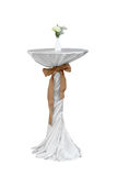 High table with white tablecloth and sackcloth Stock Photography