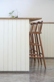 High table. White high table with wooden chairs Royalty Free Stock Photos