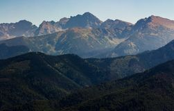 High Tatra Mountain in summer. Lovely scenery observed from village Zakopane, Poland Royalty Free Stock Photos