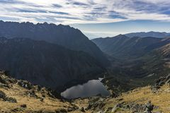 High Tatra Mountains. View from the Szpiglasowy Wierch on the Sl Royalty Free Stock Images