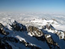 High Tatra mountains in winter. Aerial view of snow capped High Tatra mountains in winter, Slovakia Royalty Free Stock Image