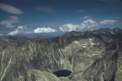 High tatras. Panoramatic view of all of high tatras from Krivan hill Royalty Free Stock Image