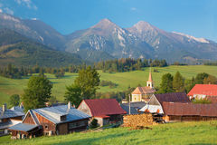 High Tatras - Belianske Tatry mountains and Zdiar village.  stock photos