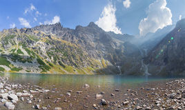 High Tatras - The lake Czarny staw pod Rysami, Rysy and Mengusovske peaks.  Royalty Free Stock Images