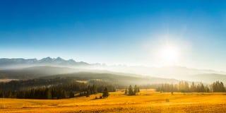 Panorama of high tatra mountains. High Tatras is a mountain range along the border of northern Slovakia and southern Poland. High Tatras is a mountain range royalty free stock photography
