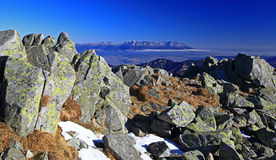 High Tatras mountains. View from Low Tatras mountains (hill Chopok) to High Tatras mountains, Slovakia stock photography