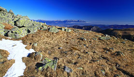 High Tatras mountains. View from Low Tatras mountains (hill Chopok) to High Tatras mountains, Slovakia royalty free stock image