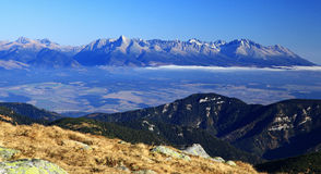 High Tatras mountains. View from Low Tatras mountains (hill Chopok) to High Tatras mountains, Slovakia stock images