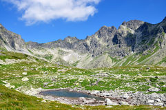 The High Tatras mountains and lake, Slovakia, Europe. View of the High Tatras mountains and lake, Slovakia, Europe Royalty Free Stock Image