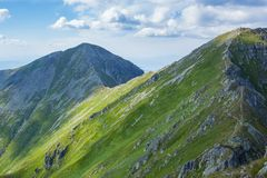 High Tatras Mountains, Slovakia in Summer with clouds royalty free stock photo