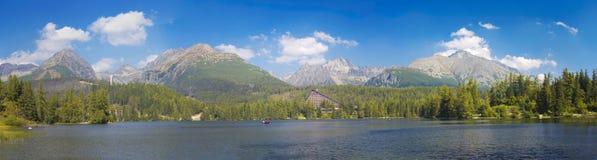 High Tatras - The panorama of Strbske Pleso lake Stock Images