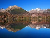 High Tatras reflected in Strbske Pleso royalty free stock photo