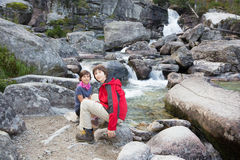 High Tatras - Studenovodske waterfalls and children Royalty Free Stock Image