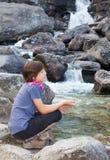 High Tatras - Studenovodske waterfalls and young girl Stock Photo