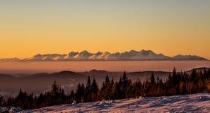 High tatras in sunset stock image