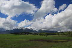 High Tatras. A view on High Tatras from Poprad's valley Stock Photos