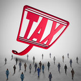 High Tax Challenge. And business taxes concept as a fly swatter with text challenging a group of people as a financial accounting symbol for taxation law issues Royalty Free Stock Photography