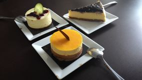 High tea.with cheese cakes at cafe Royalty Free Stock Photography