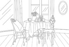High Tea Classic Vintage Room Vector Line Art Illustration. For many purpose such as put on architecture and interior magazine, blog, book, website, adult Royalty Free Stock Image