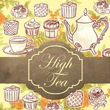 High Tea Illustration Theme and Emblem Wallpaper Background. High Tea Illustration Theme Wallpaper and Emblem Background for any purpose such as cover book and Stock Illustration