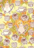 High Tea Illustration Theme Wallpaper Background. For any purpose such as cover book and illustration, wallpaper, home decor, print on canvas, calendar Stock Illustration