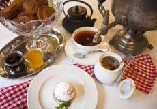 High tea set with dessert, Afternoon tea set Stock Photos