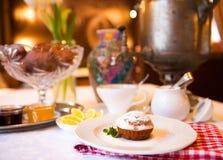 High tea set with dessert, Afternoon tea set Royalty Free Stock Image