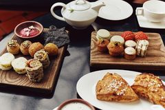 High Tea spread in Singapore stock photography