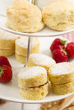 High tea. A traditional British high tea or afternoon tea served with tea cakes and sandwiches Royalty Free Stock Photos