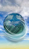 High tech circuit ball in clouds Stock Image