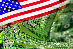 High Tech Background. High tech background with American flag and circuit board Royalty Free Stock Photo