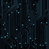 High-tech background of blue color from a computer board with LEDs and luminous neon connectors. Computer circuit. Vector illustra. Tion. EPS 10 Royalty Free Stock Image