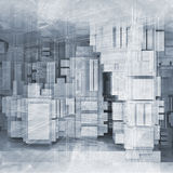 High-tech background with chaotic cubes 3d. Abstract square white and blue high-tech background with chaotic cubes constructions, wire-frame lines and paper Royalty Free Stock Image