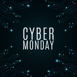 High-tech background from a computer circuit board for a cyber sale Monday. Great sale. Glowing neon blue connectors. Vector. Illustration Royalty Free Stock Photos