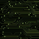 High-tech background of green color from a computer board with LEDs and luminous neon connectors. Computer circuit. A large electr. Onic network. Vector Royalty Free Stock Photos