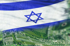 High Tech Background. Israel flag on high tech background Royalty Free Stock Images