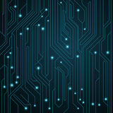 High-tech background. Motherboard with luminous neon connectors. Computer circuit. Vector illustration Royalty Free Stock Photo