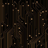 High-tech background of orange color from a computer board with LEDs and luminous neon connectors. Computer circuit. A large elect. Ronic network. Vector Royalty Free Stock Images