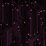 High-tech background of purple color from a computer board with LEDs and luminous neon connectors. Computer circuit. A large elect. Ronic network. Vector Royalty Free Stock Photography