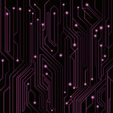 High-tech background of purple color from a computer board with LEDs and luminous neon connectors. Computer circuit. A large elect. Ronic network. Vector Stock Photos