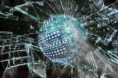 High Tech Ball Going Through Glass. Royalty Free Stock Image