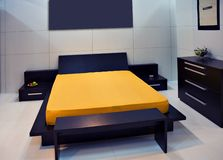High tech bedroom. Ultra high tech bedroom in a modern home Royalty Free Stock Photography