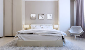 High-tech bedroom interior Stock Photos