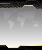 High-tech black background with earth map Royalty Free Stock Photo