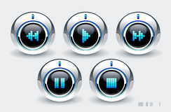High tech buttons. With music symbols Royalty Free Stock Images