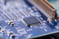 High Tech Circuit Board close up, macro. concept of information technology Stock Image