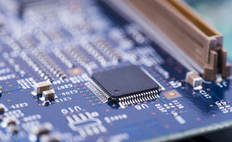 High Tech Circuit Board close up, macro. concept of information technology Stock Images