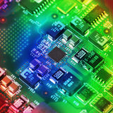 High Tech Circuit Board close up, macro. concept of information technology Royalty Free Stock Images