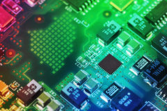 High Tech Circuit Board close up, macro. concept of information technology Royalty Free Stock Image