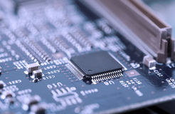 High Tech Circuit Board close up, macro. concept of information technology Stock Photo